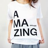 Black & White Voice T-shirt不可思議-AMAZING(White)