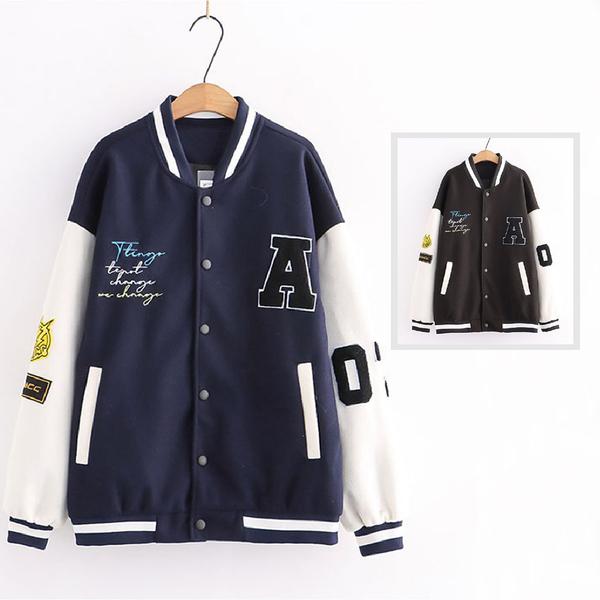 *ORead*日系刺繡立領棒球服外套(2色S~2XL)