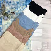 韓版新款夏季外穿冰絲寬鬆針織吊帶背心女v領無袖修身打底衫   芊惠衣屋