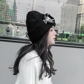 店長推薦 韓國飛行員眼鏡加厚保暖針織兔毛帽女秋冬時尚潮人眼睛毛線帽百搭
