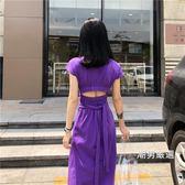 洋裝夏季新品chic長裙後背鏤空露背腰部綁帶收腰修身短袖連身裙女