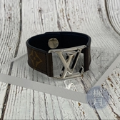 BRAND楓月 LOUIS VUITTON LV M6141D 經典 原花 銀LOGO 手環 手飾 配件 精品