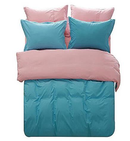 4件件套天絲棉純色素色韓國雙拼被套床單家紡 雙人床