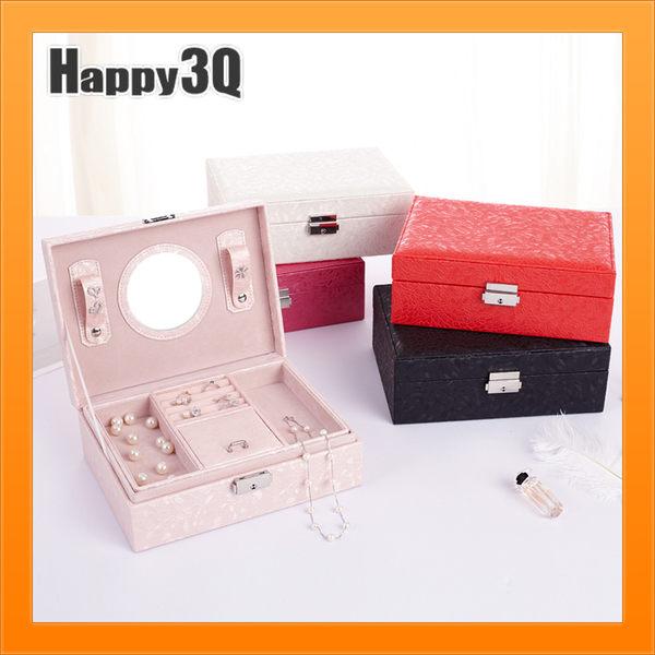 雙層首飾盒氣質公主風是品收納項鍊迷你化妝台附鏡子-白/黑/紅/粉/桃【AAA4449】預購
