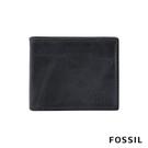 FOSSIL DERRICK 真皮帶翻轉證件格RFID男夾-海軍藍 ML3681406
