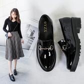 漆皮鞋布洛克女鞋厚底英倫小皮鞋女平底百搭韓版平跟漆皮單鞋女 琉璃美衣