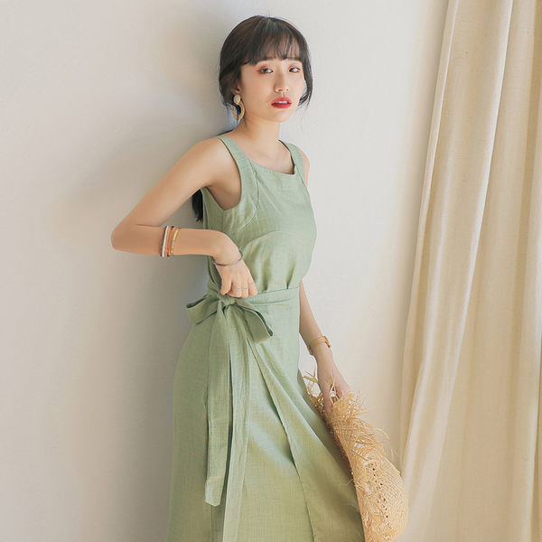 IN'SHOP一片綁結造型開衩棉麻洋裝-共2色【KT23449】