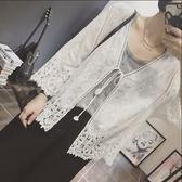 春夏純棉繡花蕾絲開衫綁帶7分袖寬鬆空調防曬衣女式披肩 卡布奇诺