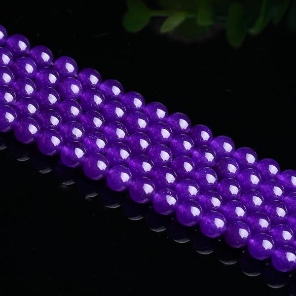 [超豐國際]石英巖玉紫玉髓半成品散珠DIY飾品配件圓珠佛珠手1入
