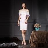 蕾絲短袖上衣+短裙(兩件套)-名媛氣質優雅修身女裙裝73lk6【巴黎精品】