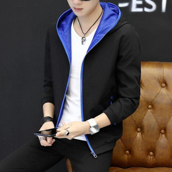 男士外套連帽夾克男青年2017新款 流韓版帥氣修身春秋季薄款上衣