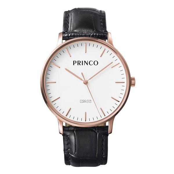 PRINCO 時尚經典一卡通速PAY石英錶-40mm白底金邊(快拆皮革錶帶)(MD0198G)