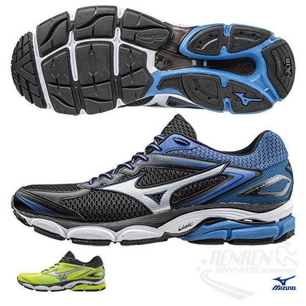 美津濃 MIZUNO 男慢跑鞋 (黑/藍) WAVE ULTIMA 8 高避震平行波浪片鞋款【 胖媛的店 】