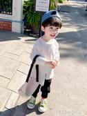 男童長袖t恤春秋純棉薄款寶寶洋氣上衣潮2020新款兒童白色打底衫 探索先鋒