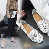 豆豆鞋   夏鏤空2018新款韓版百搭奶奶鞋透氣防滑復古森女單鞋