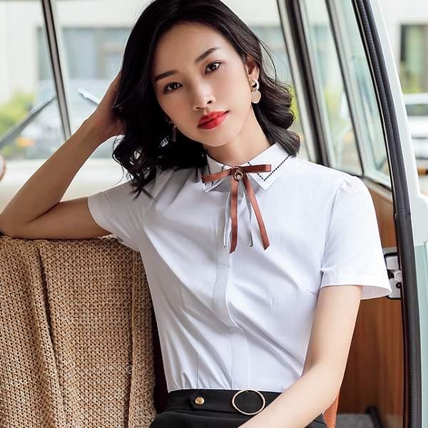 簡約襯衫領虛線上班新鮮人短袖襯衫(不含領結)[9S113-PF]美之札