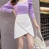 皮裙 不規則設計感時尚小皮裙半身裙女秋季不對稱高腰性感包臀pu皮短裙