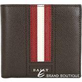 BALLY TRASAI 經典紅白條紋咖啡色八卡對折短夾 1820592-07