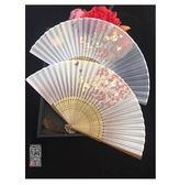日式古風折疊小女式棕竹古代中國風跳舞蹈扇折扇子隨身月輪『夏茉生活』