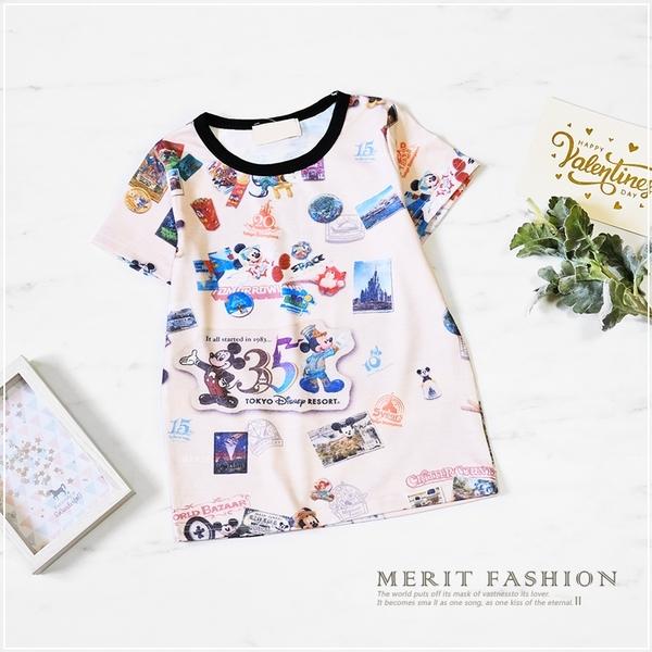 滿版米奇世界樂園巡迴短T 男童 棉質 春夏 短袖 上衣 T恤