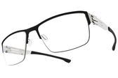 Ic! Berlin 光學眼鏡 MAX S. BLACK CHROME (黑-銀) 輕量工藝知性眉框款 薄鋼眼鏡 # 金橘眼鏡