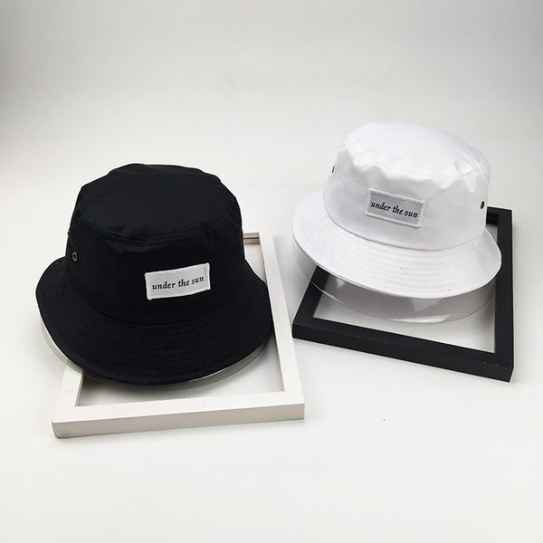 韓版復古百搭貼布字母漁夫帽子潮流男女情侶黑色盆帽春夏季遮陽帽
