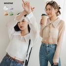 MIUSTAR 防曬輕時尚!排釦透膚短版直紋壓皺襯衫(共4色)【NJ1707】預購