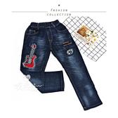 中大童 吉他貼布刺繡字母牛仔長褲 韓版 男大童 長褲 牛仔褲 鬆緊褲頭 街頭 美式 哎北比童裝