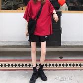 韓國運動套裝女夏寬鬆顯瘦純棉T恤短袖短褲 懶人休閒時尚兩件套