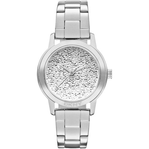 DKNY 亮眼醉心時尚晶鑽腕錶-銀白