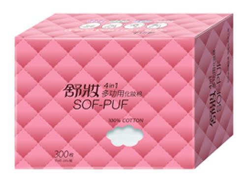 舒妝 4 in 1多功用化妝棉 - 純棉 美容師☆免撕薄片☆敷面、上化妝水用 (300枚x1盒)