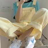 大碼奶油黃牛仔吊帶褲女薄款韓版夏季胖mm鹽系寬鬆顯瘦闊腿連身褲 果果輕時尚