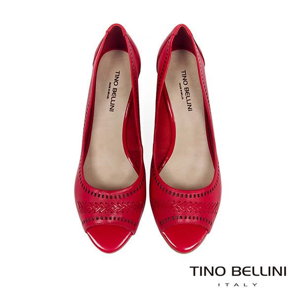 Tino Bellini 巴西進口編織MIX沖孔魚口楔型鞋 _ 紅 A83050 歐洲進口款