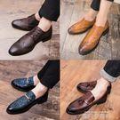 網紅豆豆鞋英倫風潮流百搭青年一腳蹬個性復古小皮鞋男韓版發型師 依凡卡時尚