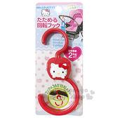 〔小禮堂〕Hello Kitty 嬰兒車用掛勾《紅.蘋果.大臉》多功能.360度旋轉 銅板小物 4573135-57630