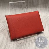 BRAND楓月 HERMES C刻 Calvi card holder 簡約 雙色 零錢包 卡夾