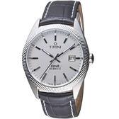 TITONI宇宙系列摩登經典機械腕錶  878 S-ST-606 黑皮