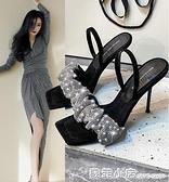 明星同款涼鞋女2021年夏季新款仙女風拖鞋水鑚細跟高跟鞋夏天涼拖 蘇菲小店