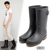 雨靴男士時尚水靴中筒釣魚防水套鞋冬高筒膠鞋防滑水鞋勞保雨鞋男 新年禮物