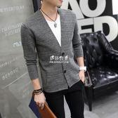 男士毛衣外套修身韓版潮流百搭V領開衫男針織衫長袖薄款帥氣外穿  伊莎公主