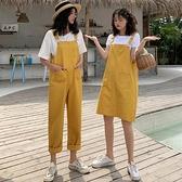 吊帶褲女年夏季新款韓版學生寬管牛仔褲寬鬆直筒褲連身褲子潮「艾瑞斯居家生活」