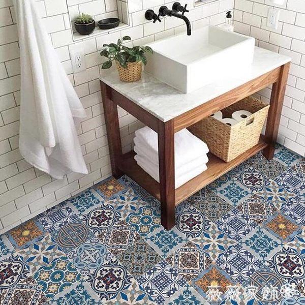 地貼 衛生間地磚貼紙陽台浴室地板貼廚房防水防滑耐磨地面翻新廁所自黏 igo薇薇家飾
