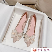 高跟鞋 水晶銀色蝴蝶結高跟鞋女細跟伴娘金色婚鞋秀禾婚紗【快速出貨】