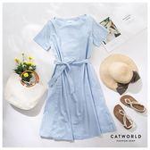 Catworld 正韓空運*夏日好感寬領綁帶洋裝【16005008】‧F
