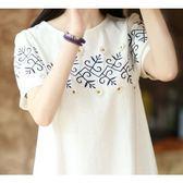 *漂亮小媽咪*夏裝可愛日系刺繡花朵短袖棉麻連衣裙 孕婦裝 XD1765