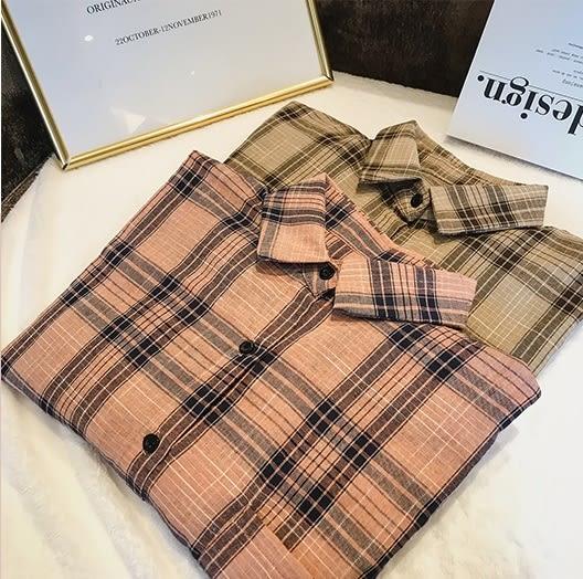 DE SHOP~(XA-6955)格子襯衫女長袖中長款韓版bf風寬鬆顯瘦休閒百搭襯衫