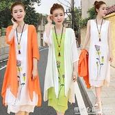 夏季棉麻洋裝兩件套2021年春裝新款氣質顯瘦民族風亞麻長裙子女 怦然新品