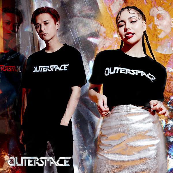 OUTER SPACE 搖滾金屬LOGOT (黑)