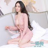 性感蕾絲情趣內衣和服式睡袍薄款透明三件套女士睡衣套裝
