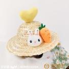 可愛貓咪狗狗小型犬草帽布偶飾品夏季小貓用品IG風拍照春游寵物帽子【小獅子】